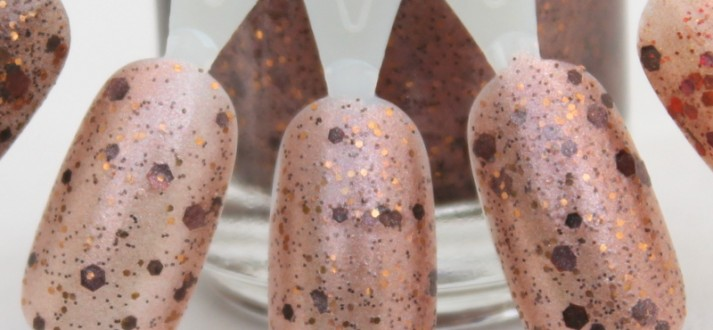 Bronze Beauty swatch milk chocolate glitter nail polish