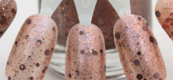 Bronze Beauty swatch milk chocolate glitter nail polish